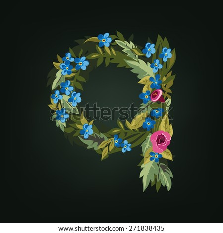 Q letter. Flower  alphabet. Colorful font. Lowercase.  Vector illustration. - stock vector