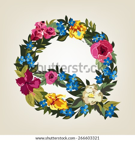 Q letter. Flower capital alphabet. Colorful font. Uppercase.  Vector illustration. - stock vector