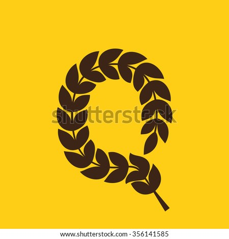 Q letter logo formed by laurel wreath. Vector design template elements for your application or corporate identity.