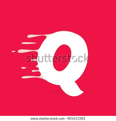 Q letter logo made of milk. Vector design template elements for your poster or corporate identity. - stock vector
