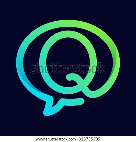 Q letter with speech bubble line logo.  Abstract trendy letter multicolored vector design template elements for your application or corporate identity. - stock vector