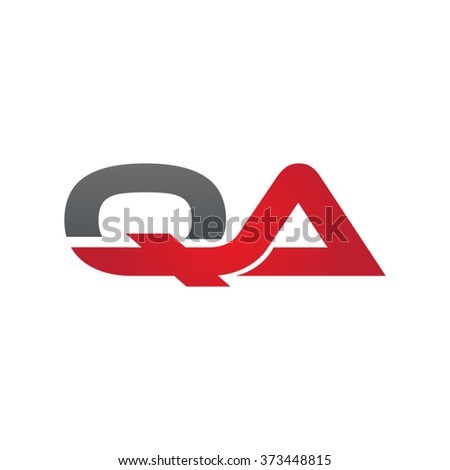 QA company linked letter logo black red
