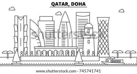 Qatar doha architecture skyline buildings silhouette stock vector qatar doha architecture skyline buildings silhouette outline landscape landmarks editable strokes malvernweather Gallery