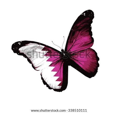 Qatar flag butterfly - vector - stock vector