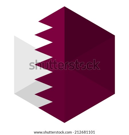 Qatar Flag Hexagon Flat Icon Button - stock vector