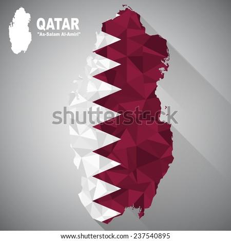 Qatar flag overlay on Qatar map with polygonal and long tail shadow style (EPS10 art vector) - stock vector