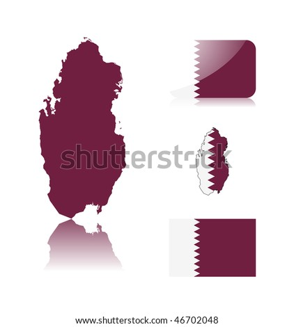 Qatar map including: map with reflection, map in flag colors, glossy and normal flag of Qatar . - stock vector