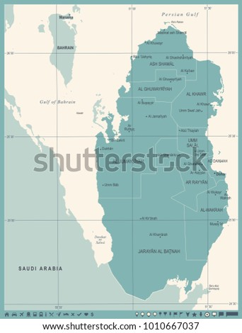 Qatar Map Vintage High Detailed Vector Stock Vector 1010667037 ...