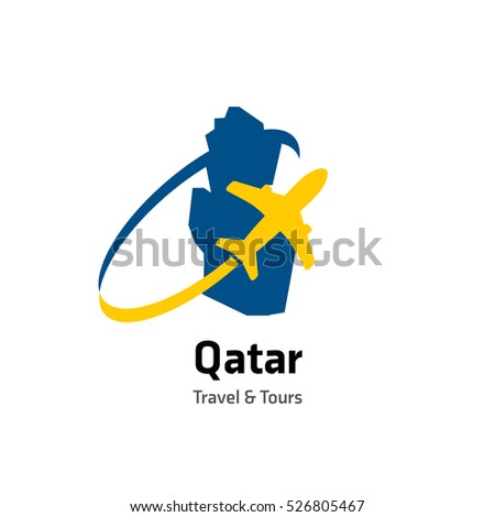 Qatar Travel Tours Logo Vector Travel Stock Photo Photo Vector