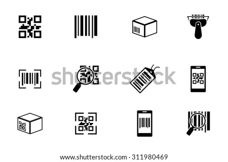 QR code and Bar code icons set. Scan coding, sticker identification. Vector illustration - stock vector