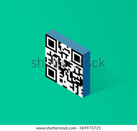 Qr code icon in isometric 3d style modern button design vector illustration isolated on green background - stock vector