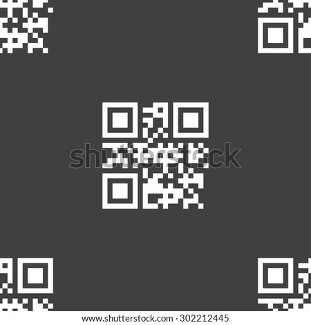 Qr code icon sign. Seamless pattern on a gray background. Vector illustration