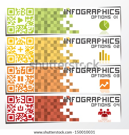 QR Code Infographics Banner & Background Design Template - stock vector