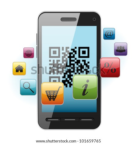 QR-code on mobile phone screen with different icons - stock vector