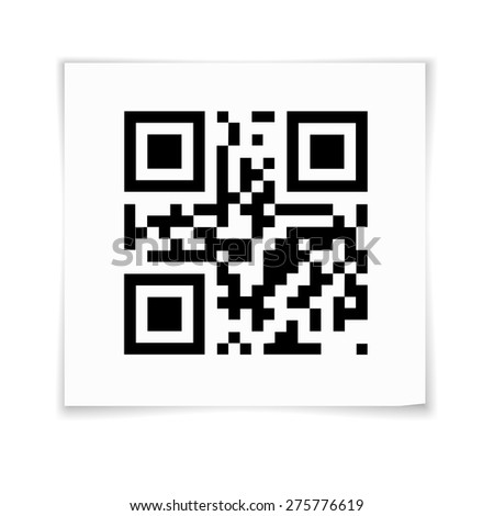 QR Code on white paper sticker with shadow. Vector illustration - stock vector