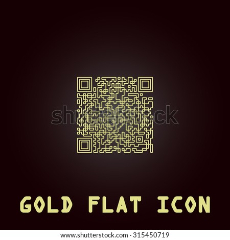 Qr code. Outline gold flat pictogram on dark background with simple text.Vector Illustration trend icon - stock vector