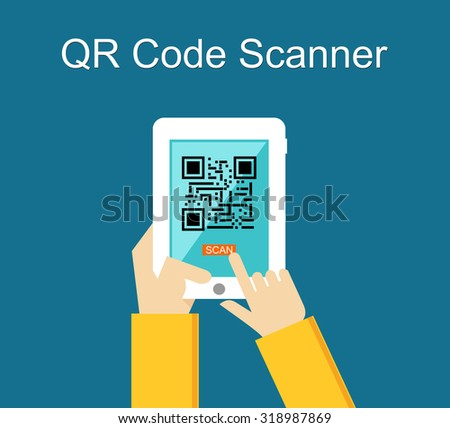 Qr code scanner concept illustration. - stock vector