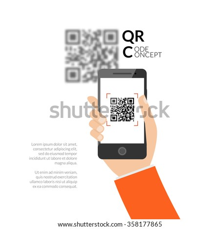 QR code scanning with mobile phone. Capture QR code on mobile phone. Symbol scanning QR code. Concept recognition QR code.  - stock vector