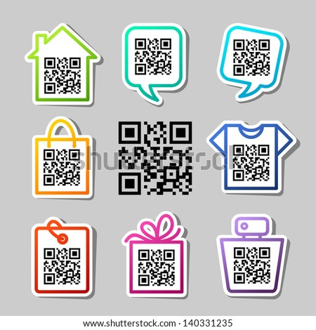 QR-Code. Set of 9 icons - stock vector