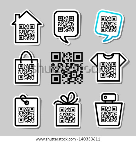 QR-Code. Set of 8 icons - stock vector