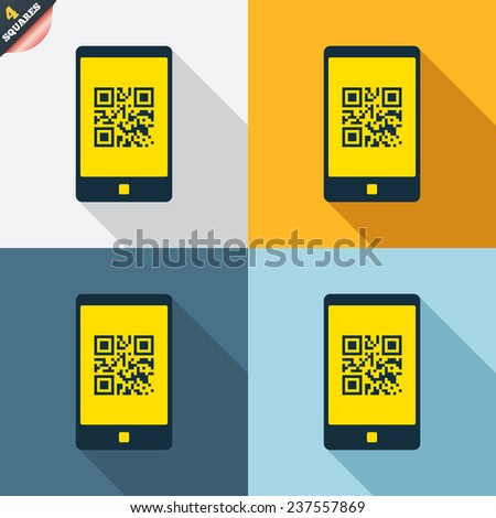 Qr code sign icon. Scan code in smartphone symbol. Coded word - success! Four squares. Colored Flat design buttons. Vector - stock vector