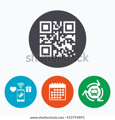 Qr code sign icon. Scan code symbol. Coded word - success! Mobile payments, calendar and wifi icons. Bus shuttle.