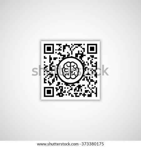 QR code with human brain icon - stock vector