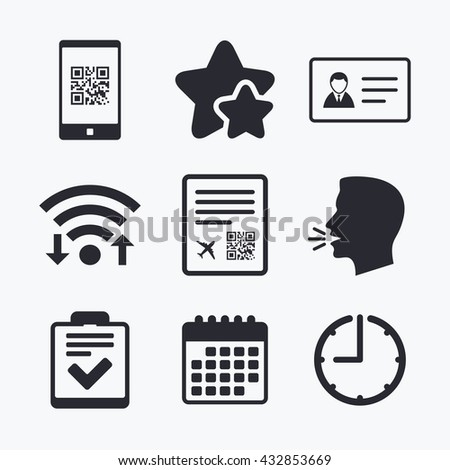 QR scan code in smartphone icon. Boarding pass flight sign. ID card badge symbol. Check or tick sign. Wifi internet, favorite stars, calendar and clock. Talking head. Vector - stock vector