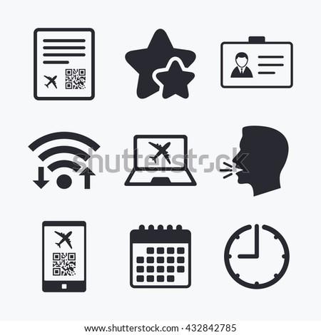QR scan code in smartphone icon. Boarding pass flight sign. Identity ID card badge symbol. Wifi internet, favorite stars, calendar and clock. Talking head. Vector - stock vector