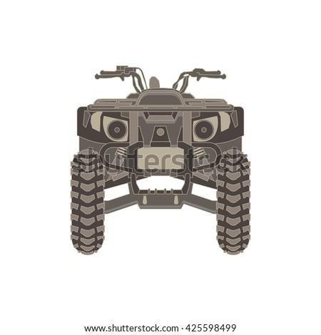 quad bike , ATV front view monochrome flat icon in gray color theme illustration object - stock vector