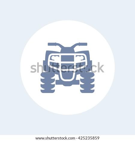 quad bike icon, all terrain vehicle, atv, quadricycle vector sign, icon isolated on white, vector illustration - stock vector