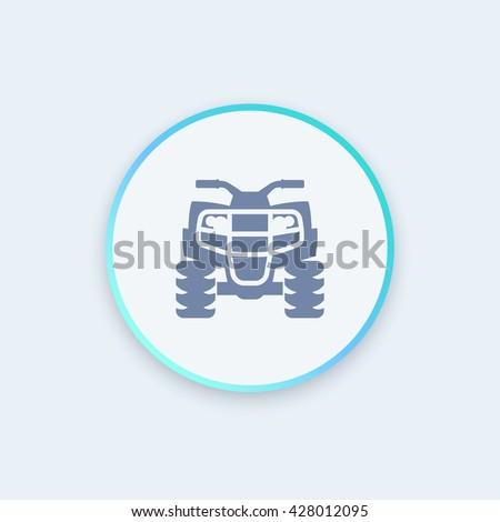 quad bike icon, all terrain vehicle, quadricycle vector sign, round stylish icon, vector illustration - stock vector