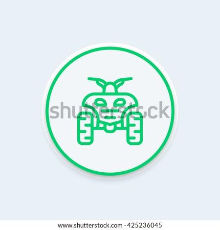quad bike line icon, atv, quadricycle linear icon, vector illustration - stock vector