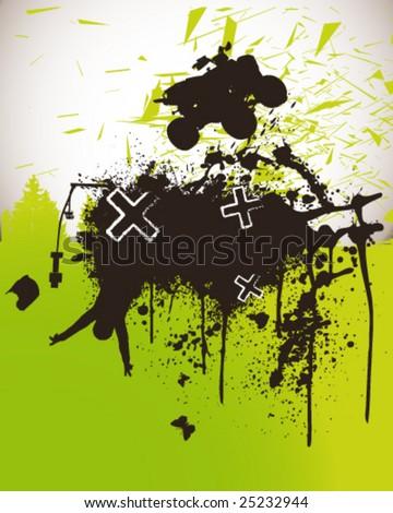 Quad Bike Poster Vector Illustration - stock vector