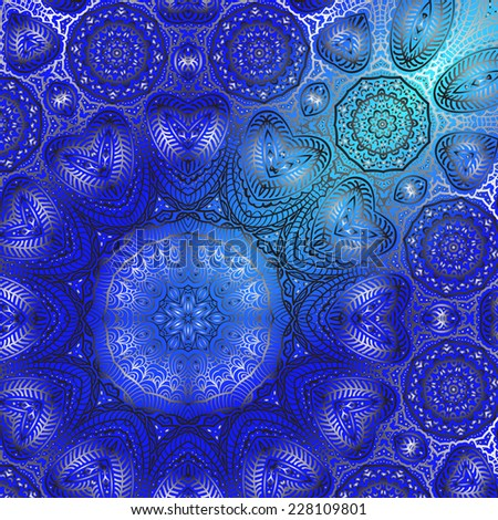 Quadrate blue ornament for design and background