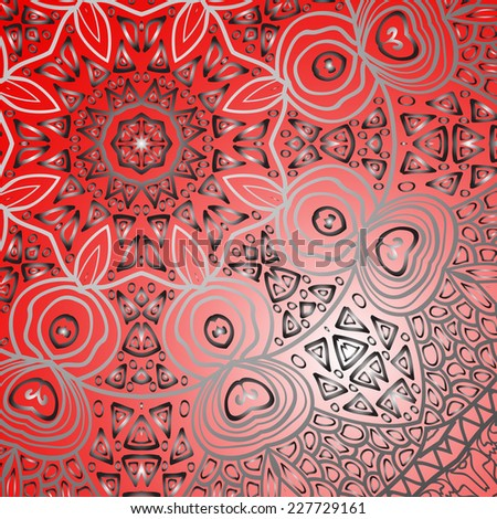 Quadrate red ornament for design and background