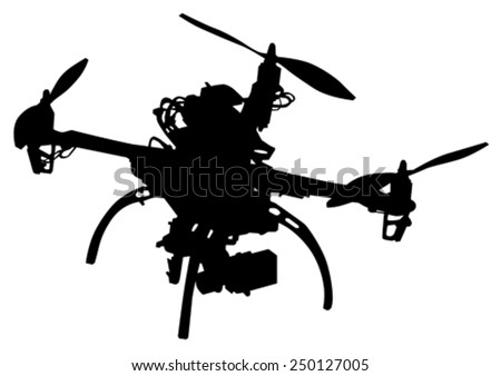 Quadrocopter with photo equipment on a white background - stock vector