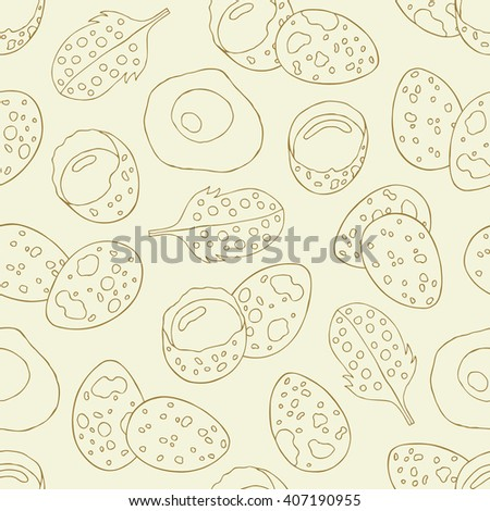 Quail eggs seamless pattern. Hand drawn background. Retro texture. Vector illustration.
