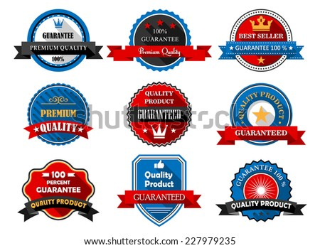Quality and Premium product flat labels with various text guaranteeing the quality of the products in round frames and a shield with ribbon banners, vector illustration on white - stock vector