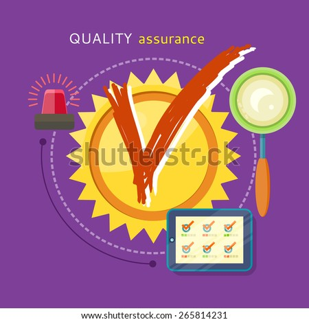 Quality assured sign grunge rubber stamp on stylish background. Concept in flat design style. Can be used for web banners, marketing and promotional materials, presentation templates - stock vector