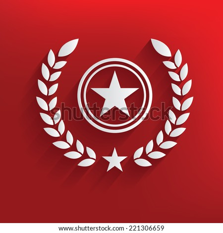 Quality badge symbol on red background,clean vector - stock vector