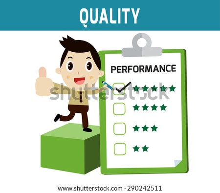 quality. businessman checklist performance box.
