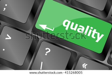 quality button on computer keyboard showing business concept. Keyboard keys icon button vector - stock vector