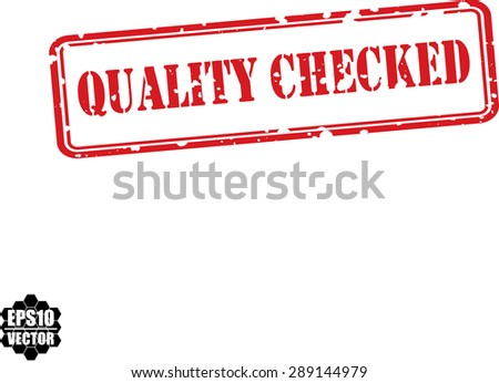 Quality checked red grunge stamp isolated on white background.Vector - stock vector