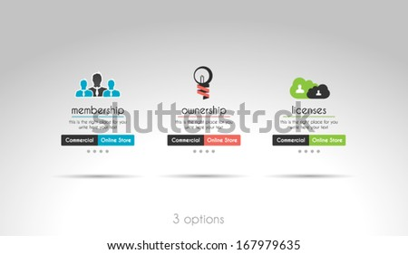 Quality clean web elements for blog and sites. 3 choice menu - stock vector