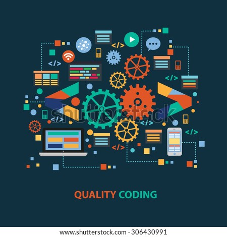 Quality coding concept design on dark background,clean vector - stock vector