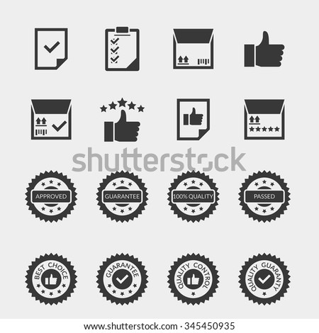 Quality control black icons set. Label certificate, warranty stamp sale, mark badge insignia, vector illustration - stock vector