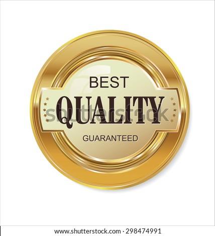 Quality golden badge - stock vector