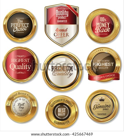 Quality golden badge collection - stock vector