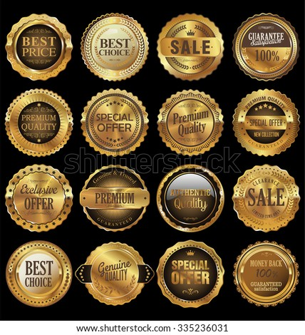 Quality golden labels collection - stock vector